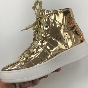 GOLD PATENT HIGH TOP SNEAKERS